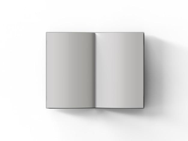 白い背景の上の3dレンダリング空白ページノートブック