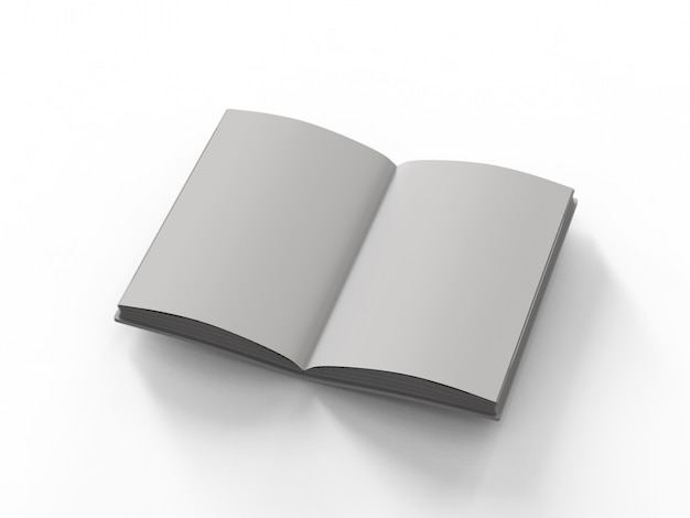 3d rendering blank pages notebook on white background