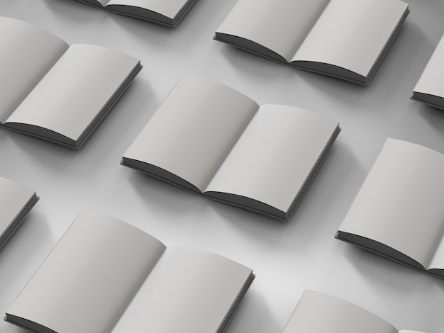 3d rendering blank pages notebooks on white background