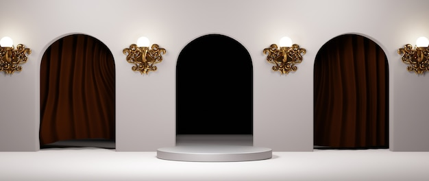 3d rendering of blank product background for displaying fashion and cream cosmetics decorations. modern podium background for luxury product.