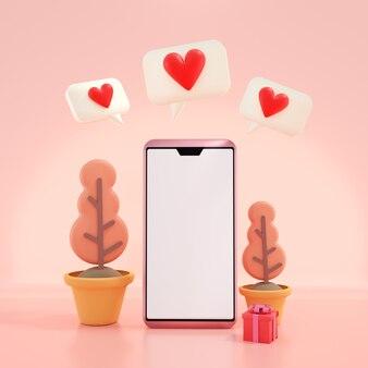 赤いハートの3dレンダリング空白画面スマートフォン。デートアプリ、オンライン愛