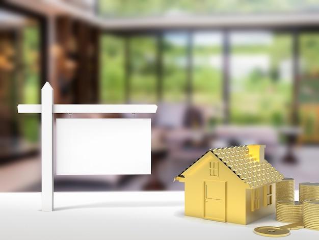 家の背景と空白のサインをレンダリングする3d