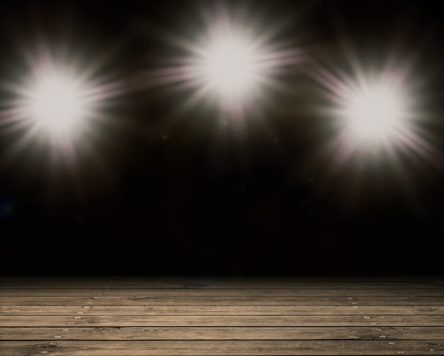 3d rendering blank stage with shining flash light