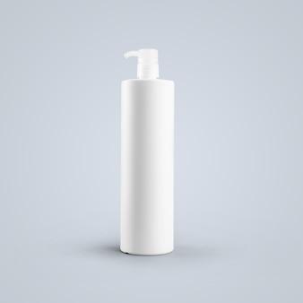 3d-рендеринг пустой белой косметической пластиковой бутылки с дозирующим насосом, изолированным на сером фоне. подходит для вашего макета.