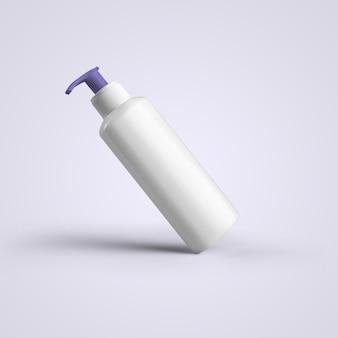 3d-рендеринг пустой белой косметической пластиковой бутылки с фиолетовым диспенсером, изолированным на сером фоне. подходит для вашего макета.