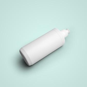 灰色の背景に分離されたプッシュプルキャップ付きの空白の白い化粧品のプラスチックボトルをレンダリングする3d。あなたのモックアップデザインに合います。