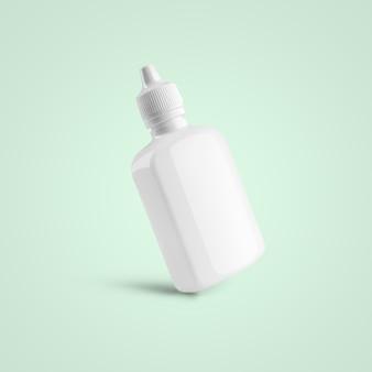 3d-рендеринг пустой белый косметический пластиковый флакон-капельница для уха и глаза, изолированных на мягком синем фоне. подходит для вашего макета.