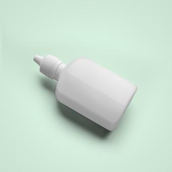 3d 렌더링 귀와 눈 부드러운 파란색 배경에 고립에 대 한 빈 흰색 화장품 플라스틱 dropper 병. 모형 디자인에 적합합니다.
