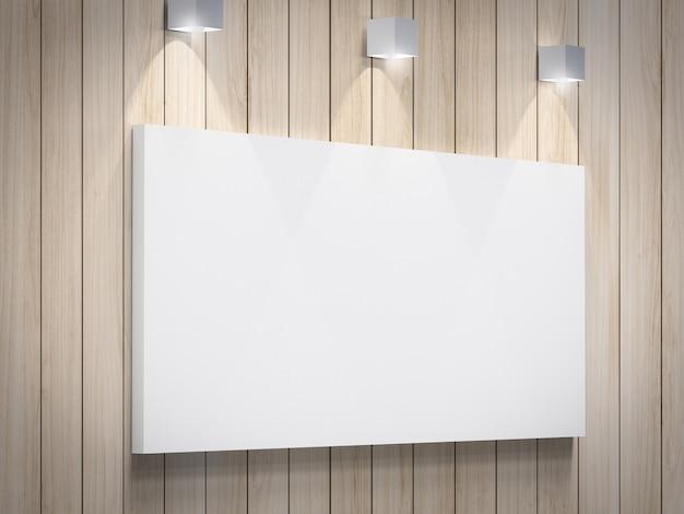 벽에 매달려 3d 렌더링 빈 흰색 프레임