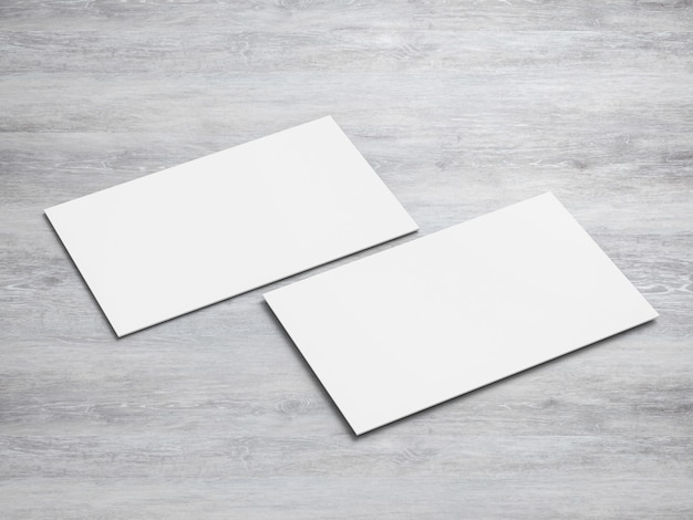 空白の白い名前カードを前面と背面に3dレンダリング