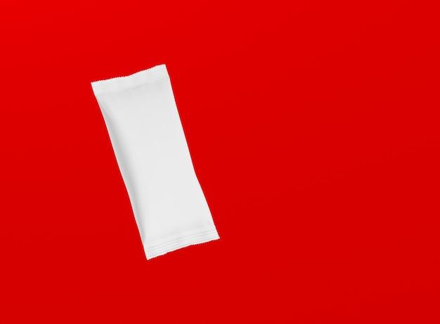 3d 렌더링 빈 흰색 스낵 바 빨간색 배경에 고립. 디자인 프로젝트에 적합합니다.