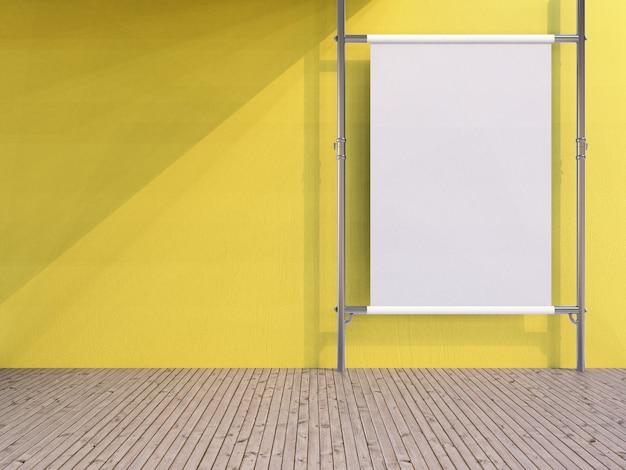 3d рендеринг пустой белый вертикальный рекламный щит