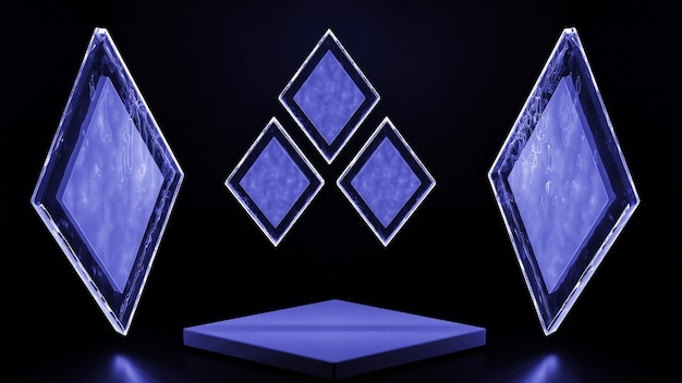 3d рендеринг синих абстрактных геометрических фигур на черном фоне