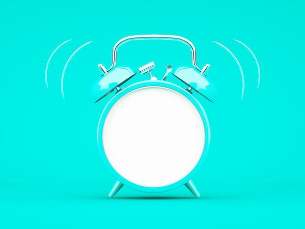 青い背景に青い目覚まし時計を3dレンダリング