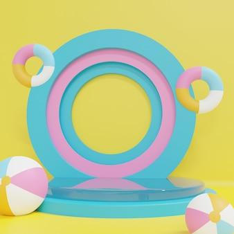 黄色の背景にパステルインフレータブルで青とピンクのポイダムをレンダリングする3d