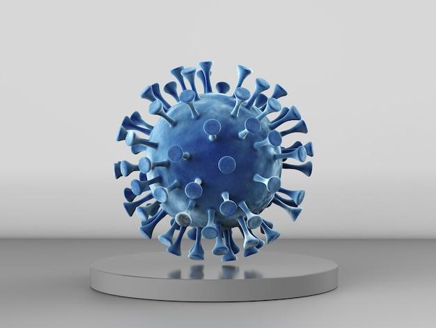 灰色の背景に藍藻やウイルス細胞を3dレンダリング