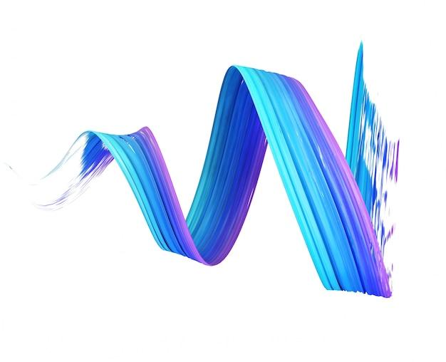 3d rendering of blue brush stroke