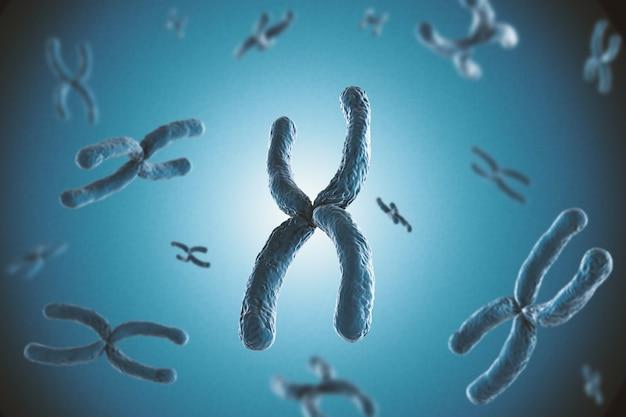 파란색 배경에 3d 렌더링 파란색 염색체
