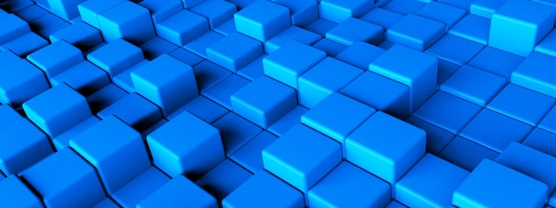 3d rendering of blue cubes, geometric background, panoramic image
