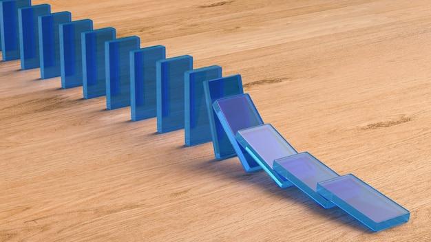 3d рендеринг синие домино падают