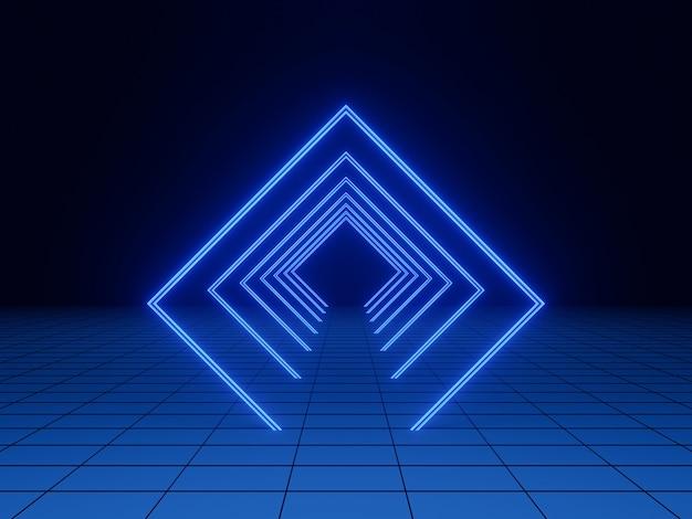 3d 렌더링. 블루 기하학적 빛 터널