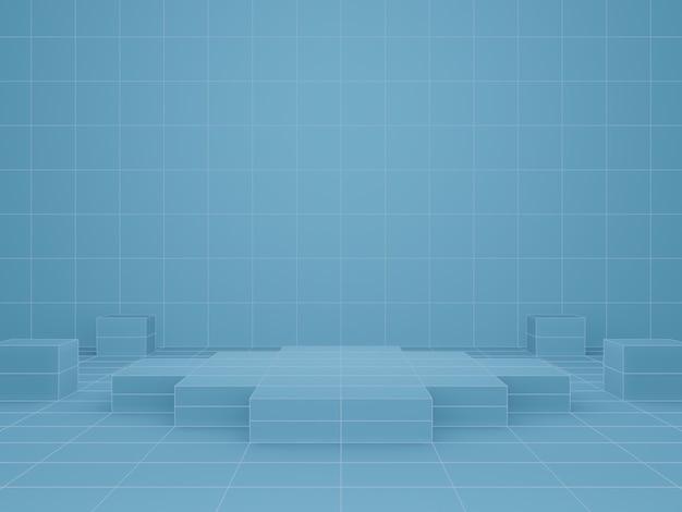 3dレンダリング。青い幾何学的な製品スタンド。