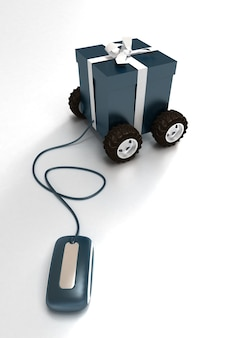 3d rendering of a blue gift box on wheels connected to a computer mouse