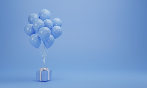 3d rendering. blue gift box with balloons on pastel background with copy space. minimal concept.