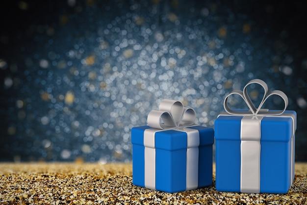 3d-рендеринг синей подарочной коробки с пустым пространством