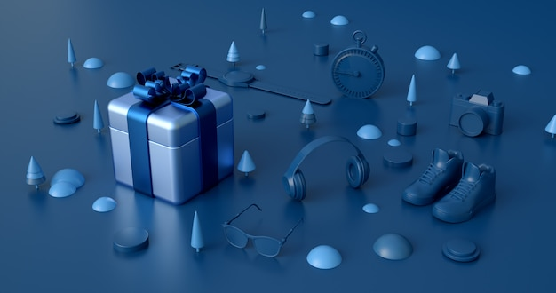 3d rendering of blue gift box.