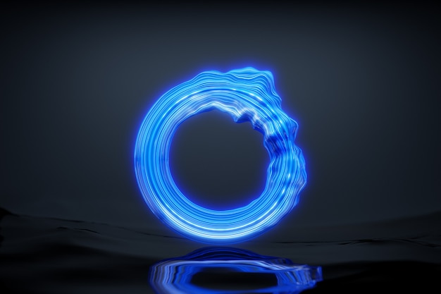 3d rendering blue glowing neon round fractal, portal on black isolated background