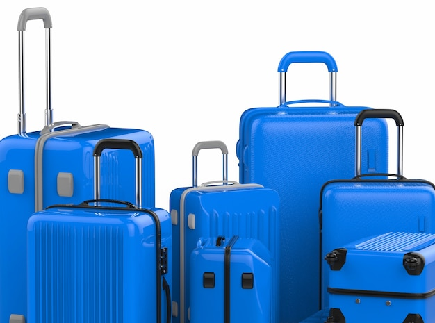 3d rendering blue hard case luggages isolated on white