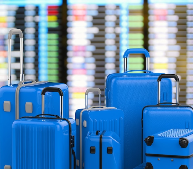 3d rendering blue hard case luggages with airport background