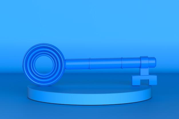 3d рендеринг синий ключ на синем фоне