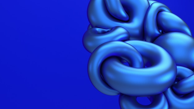 3d rendering blue metallic flying abstraction. computer generated illustration of soft liquid shapes. bold electric blue background
