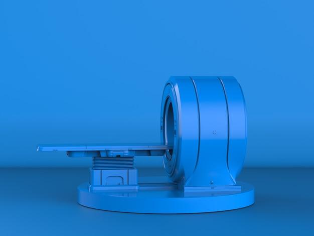 3d-рендеринг синего мрт-сканера или магнитно-резонансного томографа на синем фоне