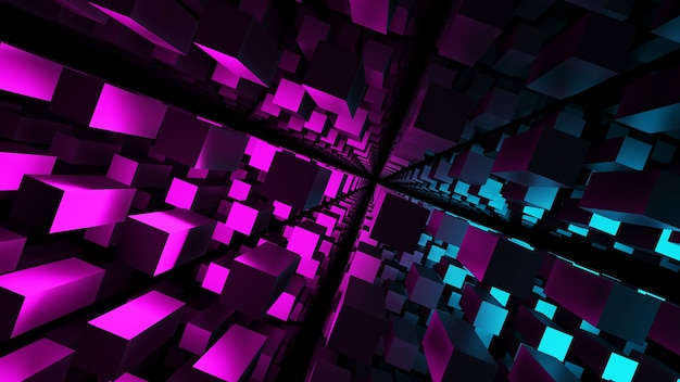 3d rendering blue pink black fluorescent abstract square background pattern rendering