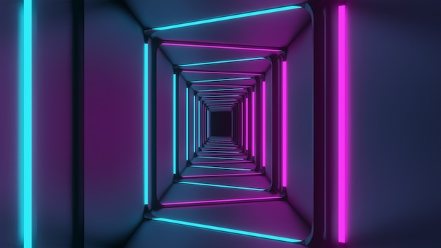 3d rendering of blue-pink corridor lights abstract smooth black background