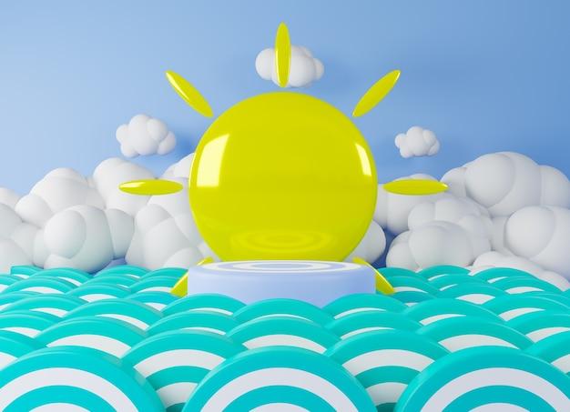 3d 렌더링 블루 연단 녹색 물결, 배경 태양과 구름.