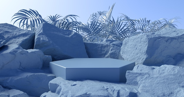 3d rendering of blue podium and stone background