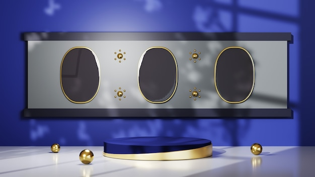3d rendering of blue podium with gold stripes for displaying products in a blue room background. mockup for show product.