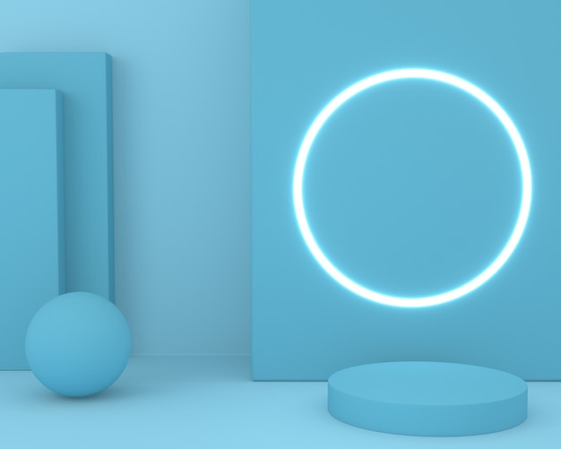 3d rendering of a blue podium