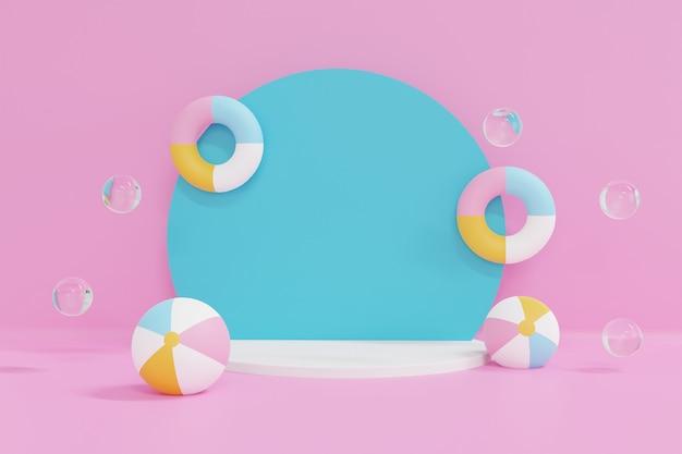 ピンクの背景にパステルインフレータブルで青いポイダムをレンダリングする3d