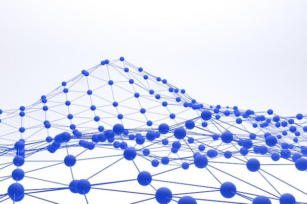 3d рендеринг синий многоугольной пейзаж на абстрактном белом фоне, низкополигональная на белом фоне
