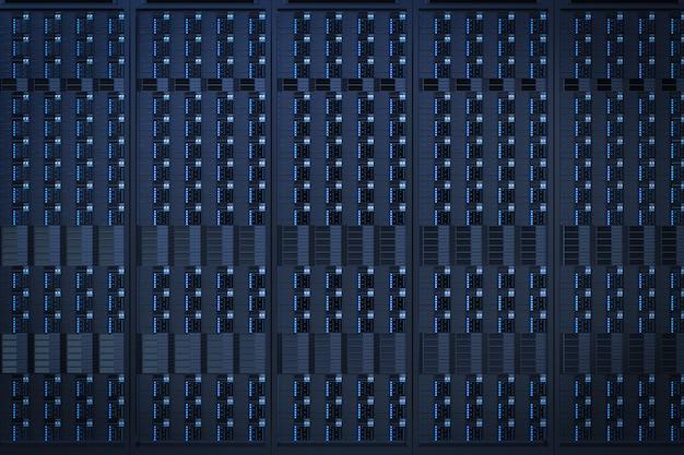 3dレンダリング青いサーバータワーのクローズアップの背景