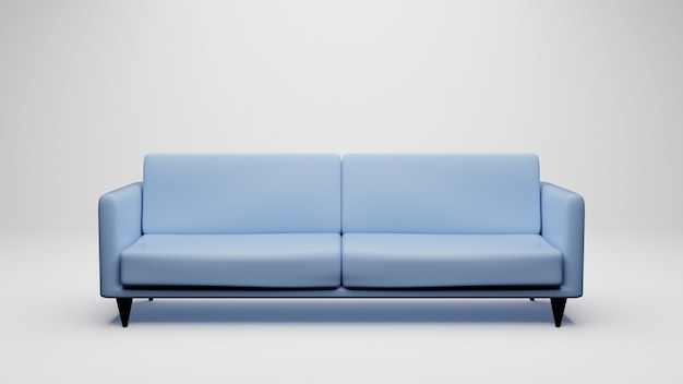 3d rendering blue sofa isolated on white . including clipping path.