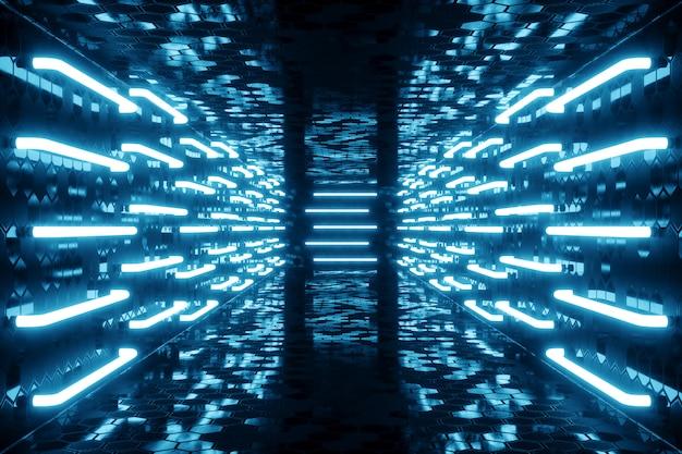 3dレンダリングブルーの色合い青いネオンの光で照らされた廊下。壁にエレガントな未来的なネオンの光。