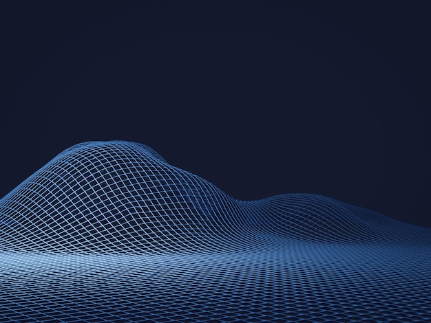 3d rendering blue topographic wireframe