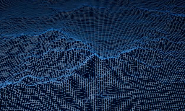 3d 렌더링 블루 지형 와이어 프레임