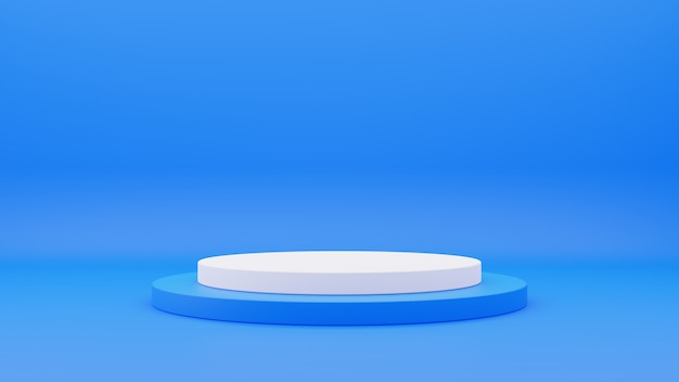 3d rendering of blue and white circle podium